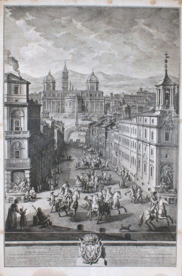 Vasi, Giuseppe: View of Santa Maria Maggiore with obelisk and procession of the Grande di Spagna with his court in Visit to the Pope, Year 1771