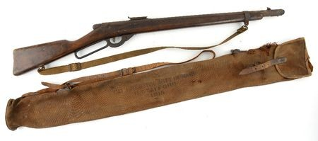 WWI Mk III target practice pump action air rifle with canvas carry bag stencilled BATH ADJUSTING ARTY RF Mk III R. STAFFORD...
