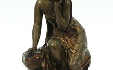FRENCH BRONZE SEATED CLASSICAL LADY, MARBLE BASE