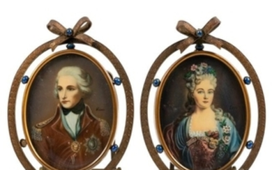 Miniature Portraits in Brass Frames