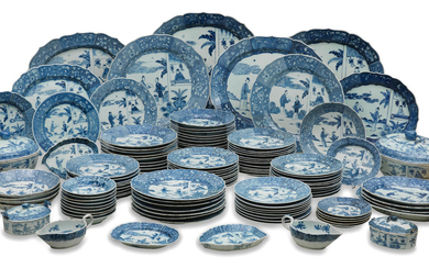A rare and extensive blue and white 'Romance of the Western Chamber' dinner-service