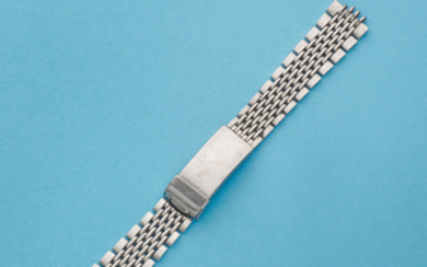 A stainless steel Heuer Gay Frères 'rice link' bracelet