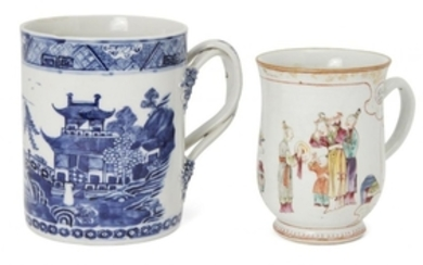 Two Chinese export porcelain mugs, 18th century,...