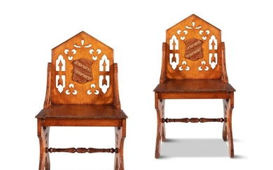 A PAIR OF 19TH CENTURY OAK HALL CHAIRS, the pointe…
