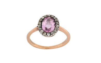 A 19th century pink topaz and diamond ring