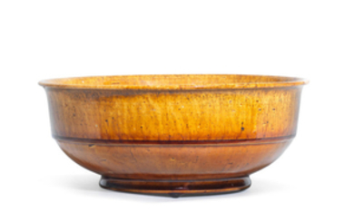 An amber-glazed bowl