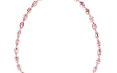 ANTIQUE PINK TOPAZ RIVIERA NECKLACE, EARLY 19TH CENTURY
