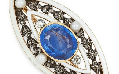 ANTIQUE SAPPHIRE, PEARL, DIAMOND AND ENAMEL BROOCH set