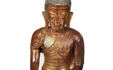 Burmese Gilt and Lacquer Papier Mache Buddha