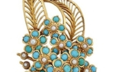 A diamond and turquoise brooch, designed as...