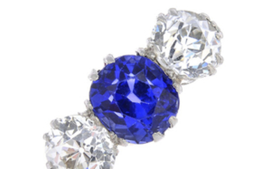 An early 20th century 18ct gold and platinum, Sri Lankan sapphire and diamond three-stone ring.