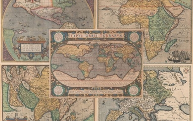 "Folio Set of Ortelius World and Continents, ""[Lot of 5] Typus Orbis Terrarum [and] Americae sive Novi Orbis, Nova Descriptio [and] Africae Tabula Nova [and] Asiae Nova Descriptio [and] Europae"", Ortelius, Abraham"
