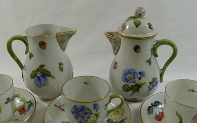 A Herend porcelain part coffee service, comprised of seven c...