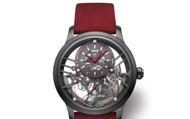 JAQUET DROZ GRANDE SECONDE SKELET-ONE CERAMIC Grande seconde skelet-one ceramic — a piece that marks a watershed in the Centuries-old history of the grande seconde, the iconic model of jaquet droz. In this one-of-a-kind edition, the rail-track, the...