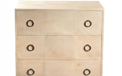 Lamberty Bespoke, a cream leather covered chest of drawers