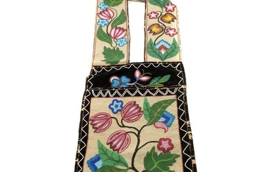 Native American Ojibwe Beaded Bandolier Bag.