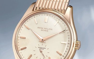 Patek Philippe, Ref. 2526 A very rare and extremely well-preserved pink gold wristwatch with enamel dial, automatic movement and bracelet