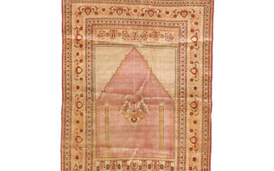A Tabriz Silk Prayer Rug