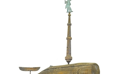 VERY RARE CARVED PINE AND SHEET COPPER WHALE AND SEA CAPTAIN WEATHERVANE, WESTPORT, MASSACHUSETTS, CIRCA 1850