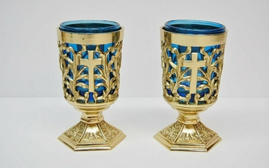 Pair of Votive Light Candle Holders with Blue Glass +