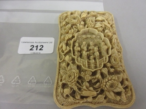 19th Century Chinese ivory visiting card case, all-over carv...