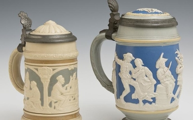 Two Mettlach Pewter Lidded Beer Steins, early 20th c.,
