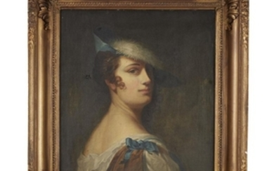 Anglo-American School 18th century portrait of a lady with...