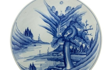 A Japanese Blue and White Porcelain Plate Diameter 18