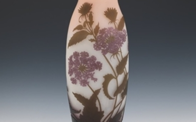 """Monumental Cameo Glass Hydrangea Vase, Signed """"Galle"""""""