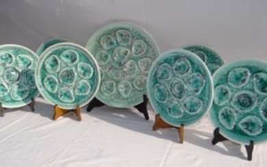 7 PC. FRENCH GLAZED FAIENCE OYSTER SERVICE