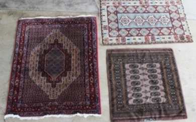 3 MISC. PERSIAN THROW RUGS, ONE PRINCESS BOKHARA SIGNED