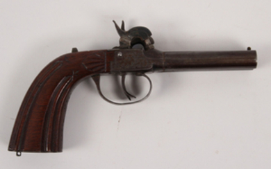 French Belgian percussion black powder double barrel traveling pistol