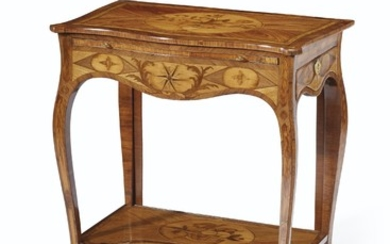 A GEORGE III ORMOLU-MOUNTED KINGWOOD, TULIPWOOD AND MARQUETRY WRITING TABLE, IN THE MANNER OF PIERRE LANGLOIS, CIRCA 1770