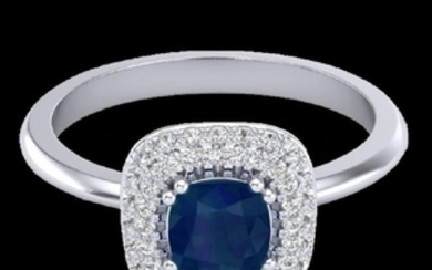 1.16 CTW Sapphire & Micro VS/SI Diamond Ring Double