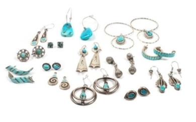 Collection of Southwestern Silver and Turquoise Earrings