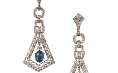 Sapphire, Diamond, White Gold Earrings The earrings feature sapphire...