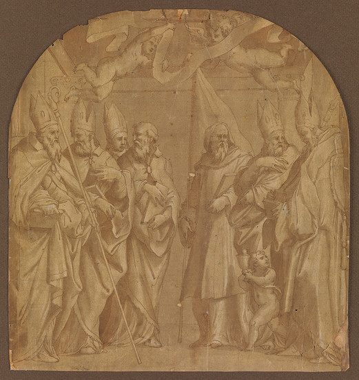 GIORGIO VASARI (CIRCLE OF) (Arezzo 1511 1574 Florence) Seven Bishop Saints Attended by Putti with a Scroll and Chalice.