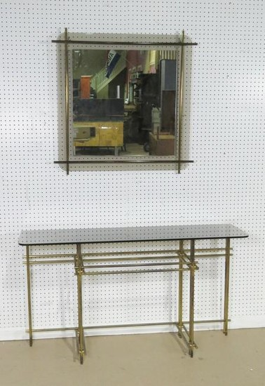 ITALIAN BRASS & GLASS CONSOLE WITH MIRROR
