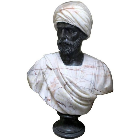 Large Classical Style Carved Marble Bust of Turbaned
