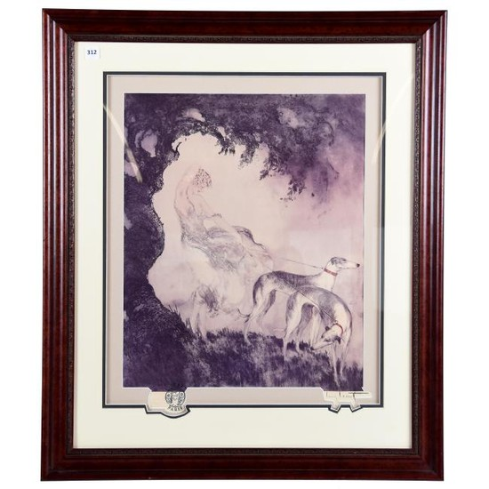 Lithograph, Louis Icart, Gust of Wind