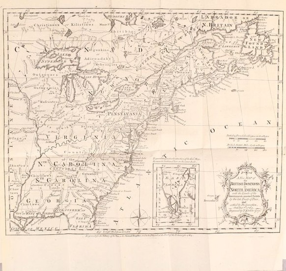 """[Maps in Book] A New Map of the British Dominions in North America; with the Limits of the Governments Annexed Thereto by the Late Treaty of Peace... [bound in] The Annual Register, or a View of the History, Politicks, and Literature…"", Kitchin, Thomas"