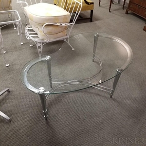 Lot Art Modern Chrome And Glass Kidney Shaped Coffee Table