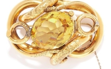 ANTIQUE CITRINE BROOCH, VICTORIAN in high carat yellow
