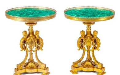 A Pair of French Neoclassical Gilt Bronze and Malachite