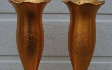 "Nice Pair of Older Fluted Church Flower Vases, 12"" tall"