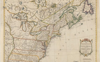 """One of the Earliest English-Produced Maps to Acknowledge the United States, """"Map of the United States in North America: with the British, French and Spanish Dominions Adjoining, According to the Treaty of 1783"""", Kitchin, Thomas"""