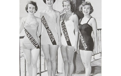 [AMERICANA] GROUP OF SIX PHOTOGRAPHS OF MISS AMERICA CONTESTANTS...