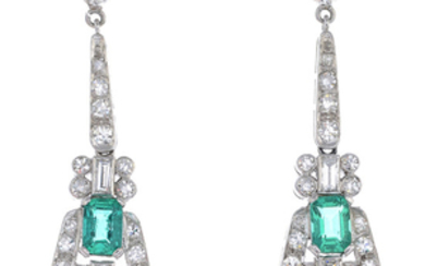 A pair of Colombian emerald and diamond earrings.