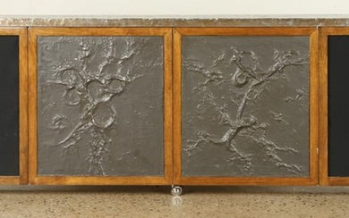 CREDENZA WITH PATINATED METAL TOP & DOOR PANELS