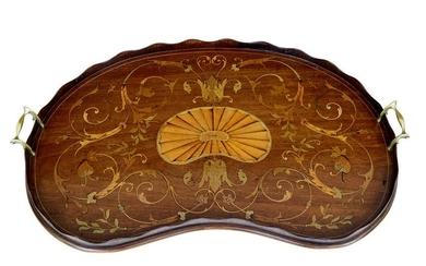 EDWARDIAN KIDNEY SHAPED INLAID TRAY